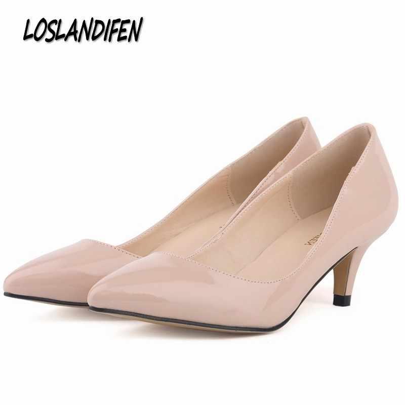 Loslandifen New brand women pumps low heels shoes woman ladies party wedding  dress pointed toe slip 3d03b77c1376