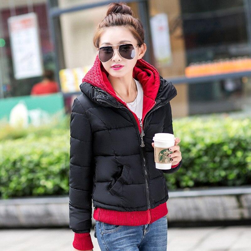 Sıcak Kış Kadın Ceket Kalınlaşmak Aşağı Pamuk Ceket Kadın Örme Kapüşonlu Splice için Yastıklı Kadın Coat Kar Dış Giyim Parkas Kadın