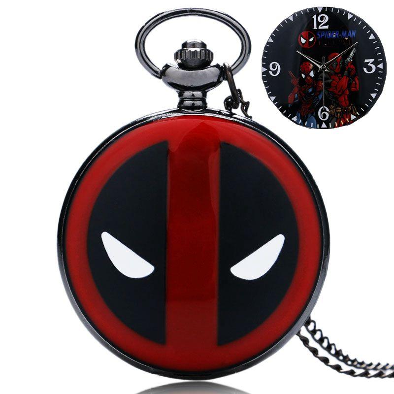 Pocket Watches Spiderman Deadpool Pocket Watch New Mutants Clock Chain Cool Necklace Men Women Child Quartz Watch Cartoon Gifts