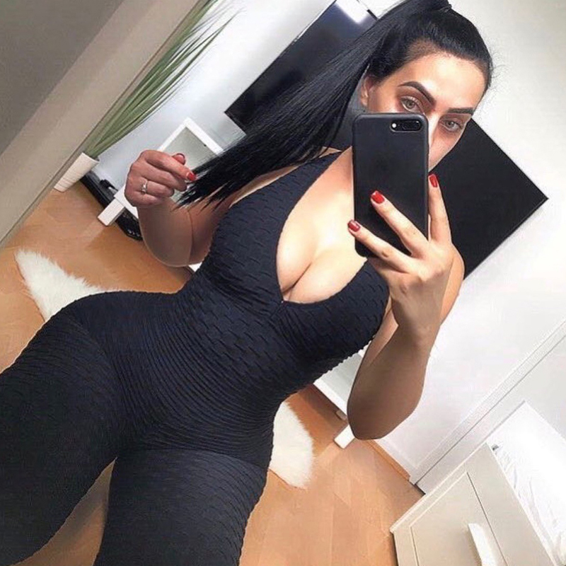 2018 Sexy Womens Yoga Pants High Stretchy Halter Backless Sport Exercise Polyester Yoga Pants Jumpsuit Bodysuit Running Overall in Yoga Pants from Sports Entertainment