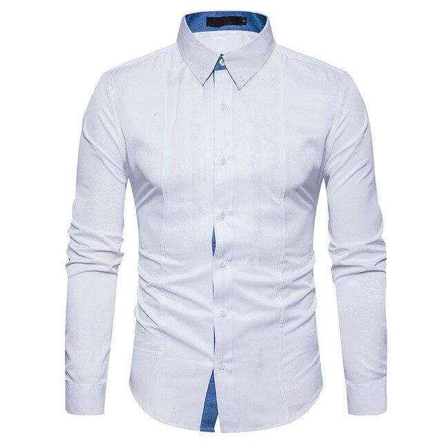 1a4467a672 Camisa branca Dos Homens 2017 Novos Homens Da Marca Camisa de Manga Longa  Casuais Mens Camisas