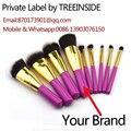 Private label 9pcs synthetic kabuki makeup brushes foundation cosmetic brush Private label cosmetics skincare lipstick cream mak