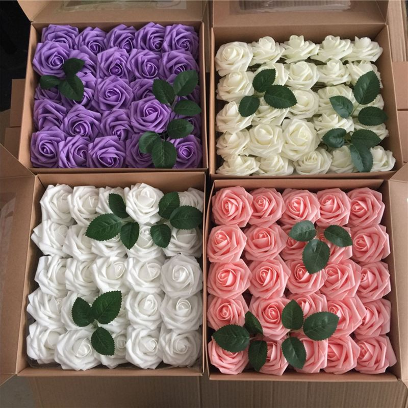 50pcs Box Real Looking Artificial Pe Foam Rose Flowers For