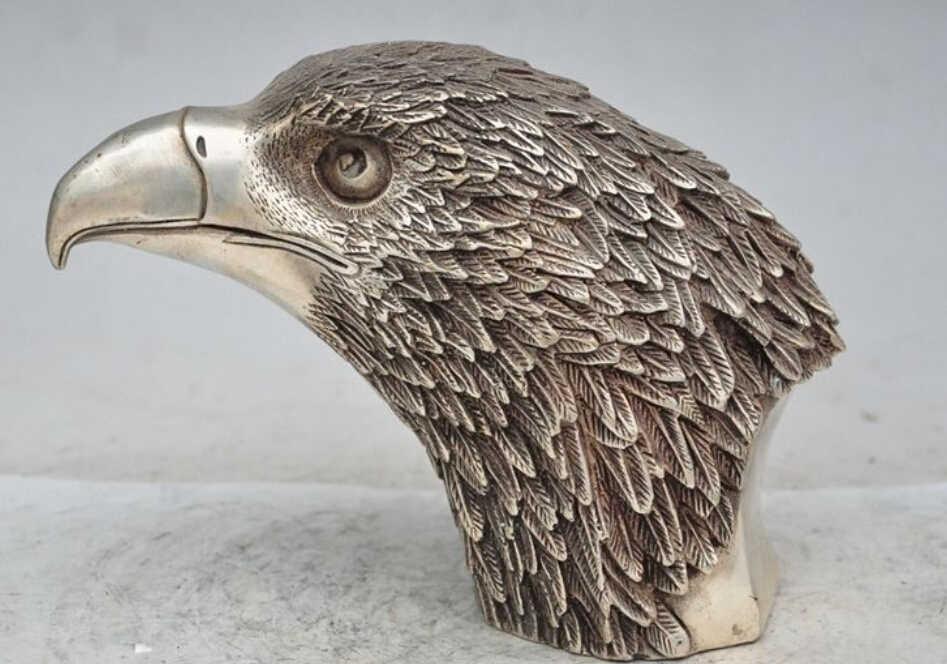 "WBY---609 + + + 8 ""Chinois tibet Argent Chanceux Gagner Faucon faucon Aigle fly Bird Roi Tête Art Statue"
