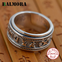 BALMORA 100% Real 925 Sterling Silver Six Words Mantra Rings Gifts Religious Jewelry Men Thai Silver Ring High Quality SY20186