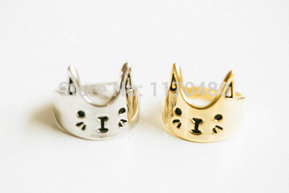 Oly2u New Fashion  Lovely Cat Ring Kitty Rings Cute Animal Rings for Women  Animal Finger Ring For Young Girl Women