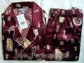 Borgoña de Los Hombres Chinos de Seda Rayón 2 unid Ropa de Dormir ropa de dormir Robe Pijamas Conjuntos de Baño Vestido L XL XXL SH001