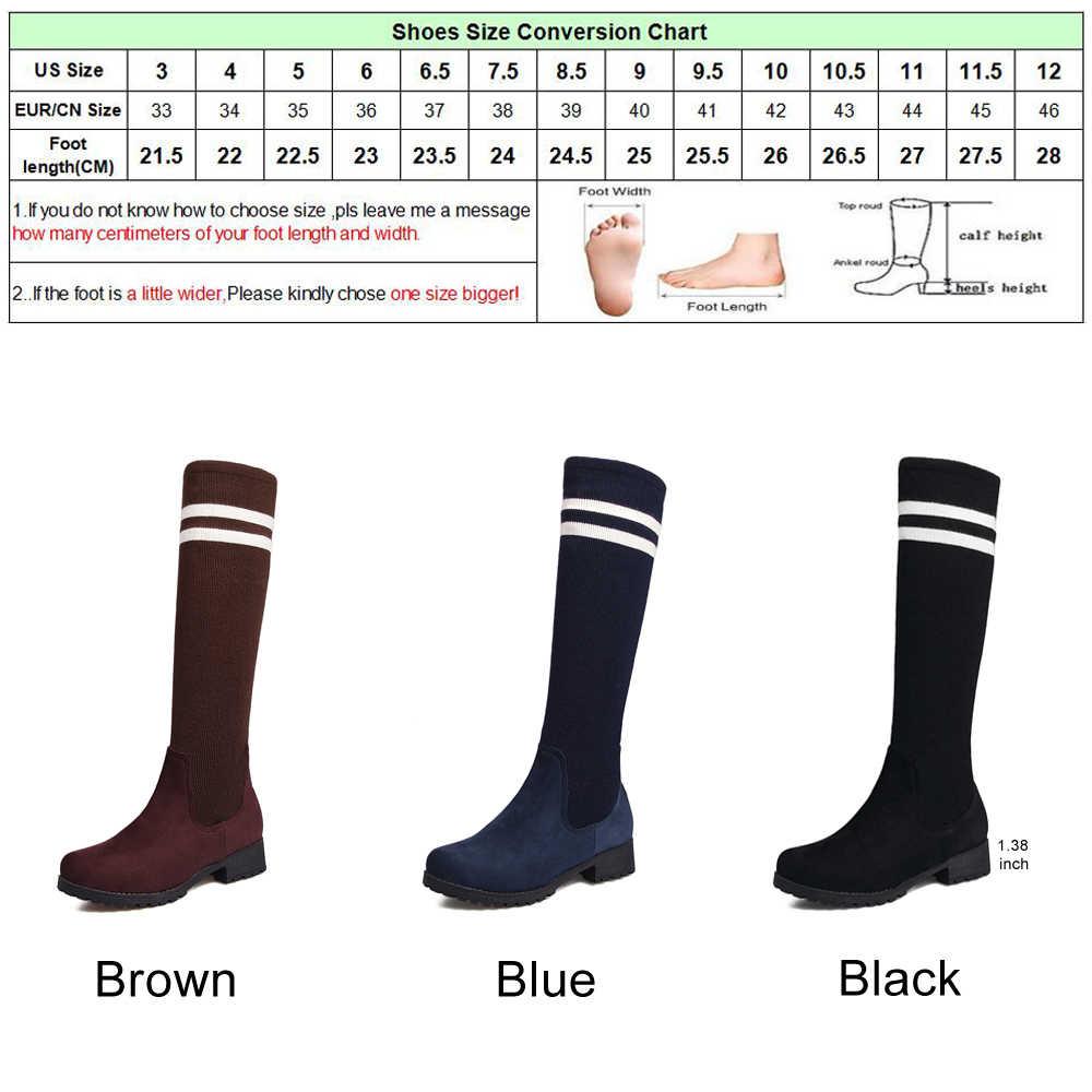 Meotina Kış Diz Yüksek Çizmeler Kadın Beyaz Şerit Çorap Çizmeler Platformu Uzun Çizmeler Moda Bayanlar Ayakkabı Siyah Mavi Boyutu 42 43