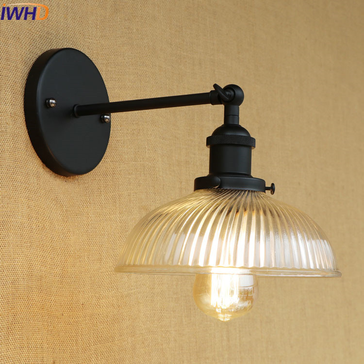 IWHD Vintage Glass WandLamp Lamparas De Pared Retro Loft Style Wall Lamp Led Industrial Edison Bulb Light Fixtures Home Lighting iwhd loft vintage led wall lamp glass lampshade retro industrial wall lights bedside light fixtures for home lighting luminaire