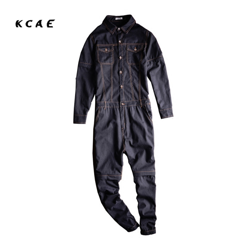 Brand 2017 New font b Men s b font casual full sleeve detachable denim overalls Pockets