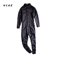 Brand 2017 New Men's casual full sleeve detachable denim overalls Pockets cargo long jeans Black Blue Jumpsuits