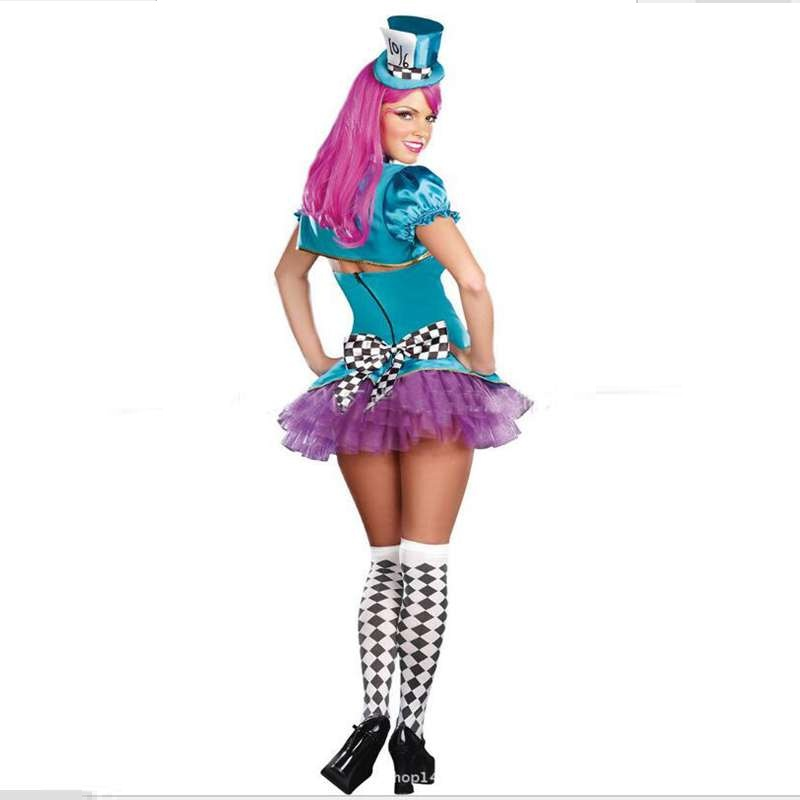 halloween costume female magician cosplay crazy clown hat bars nightclubs performance costumes in holidays costumes from novelty special use on