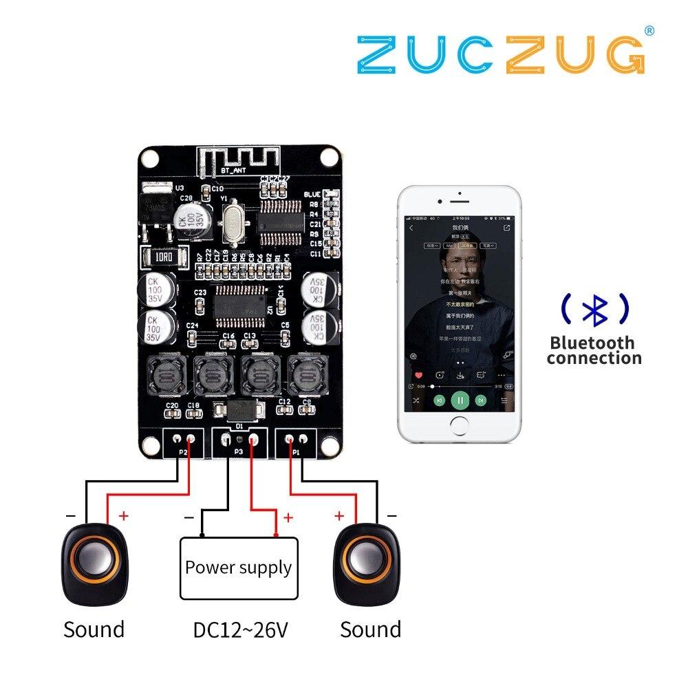 5.0 Bluetooth Power Amplifier Board Module 2x15W//10W AUX audio input TTL 8-22V
