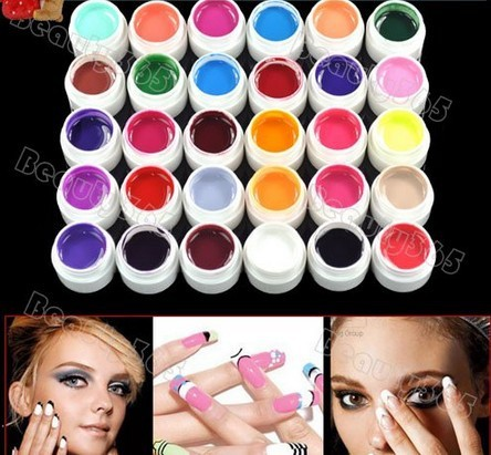 Nueva Llegada 30 Unids Solid Pure Color Nail UV Gel Acrílico Set 2018