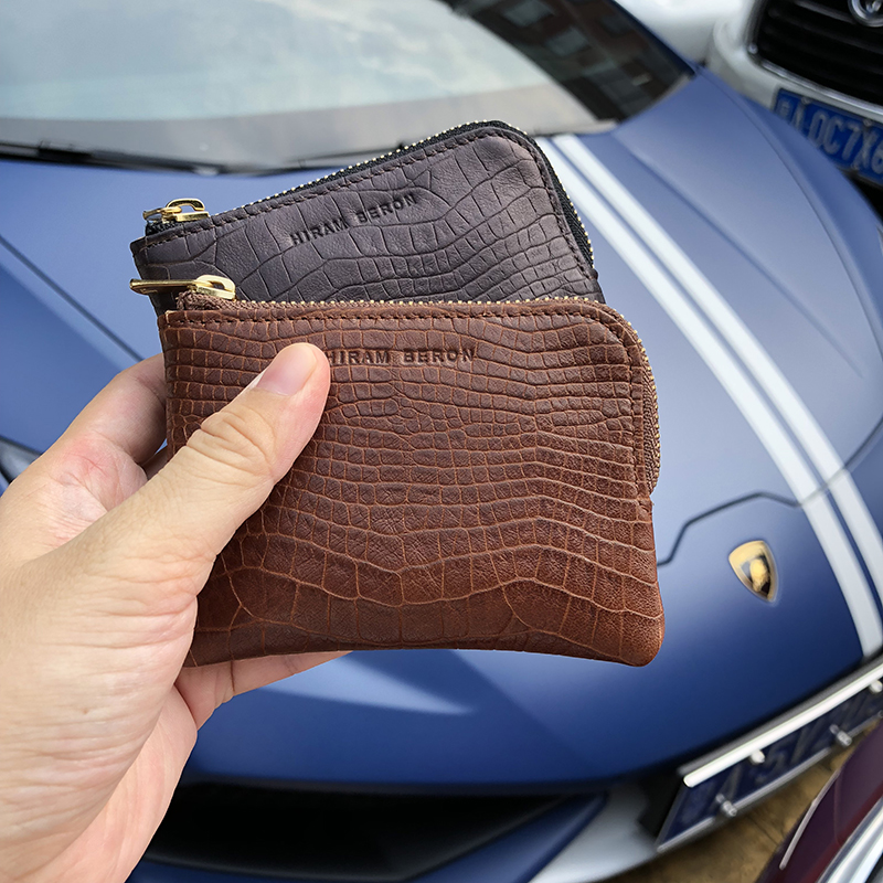 Hiram Beron embossed crocodile pattern credit card wallet for men RFID blocking slim pouch custom name