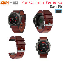 Leather Quick Release Strap for Garmin Fenix 5X Watchband 26mm Straps Belt For 5X/5X Plus Replacement Bands