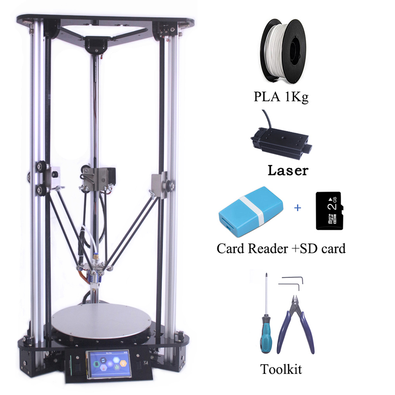 Multi Language Cheap 3D Printers i3 Kossel DIY Delta 3D Printer Kit with 1000MW Laser Engraver BMP Artwork Format Auto Fedding