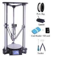 Multi Language Cheap 3D Printers i3 Kossel DIY Delta 3D Printer Kit with 1000MW Laser Engraver BMP Artwork Format Auto Fedding