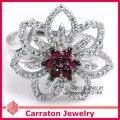 925 Prata Esterlina Jóias CZ Jóias Com Diamantes Moda Lindo Flor Brilhante Geunine 925 Anel de Prata de Cristal