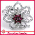 925 Sterling Silver Jewelry CZ Diamond Jewelry Fashion Gorgeous Flower Shining Crystal Geunine 925 Silver Ring