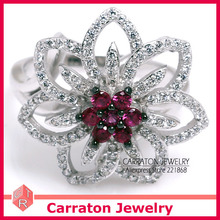 925 Joyería de Plata Esterlina de la CZ Joyas de Diamantes Moda Magníficos de La Flor de Cristal Brillante Geunine 925 Anillo de Plata