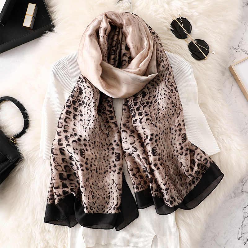 76a3965f334d8 New 2019 Women Luxury Brand Snake Skin Silk Shawl Scarf Women High Quality  Pashmina Scarves Long