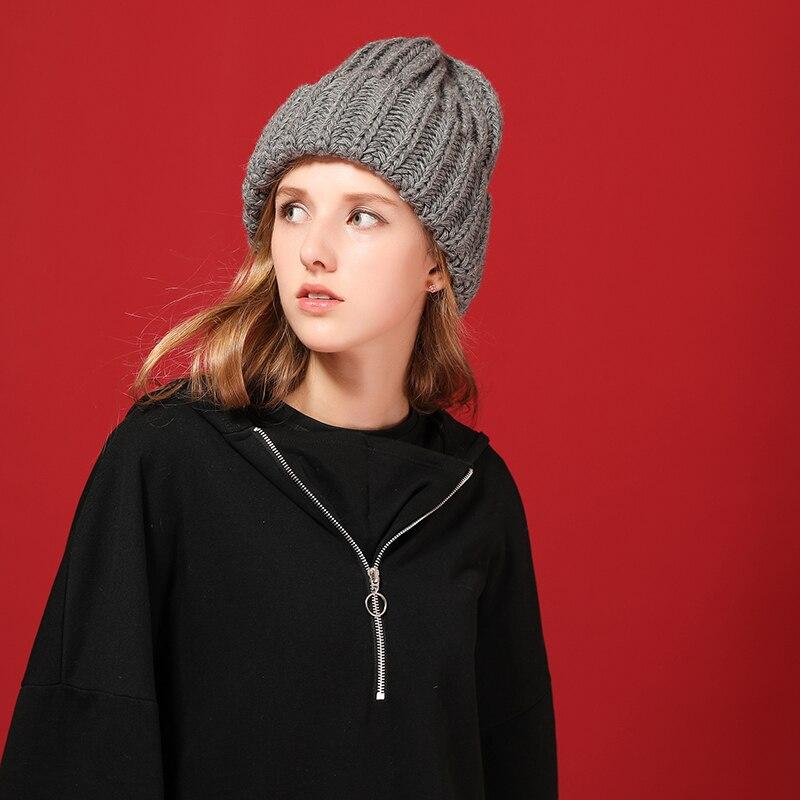 [FLB] Knitting wool ball skullies beanies Casual streetwear Thick warm hat cap Women autumn winter 2020 cute beanie hat 17042 2