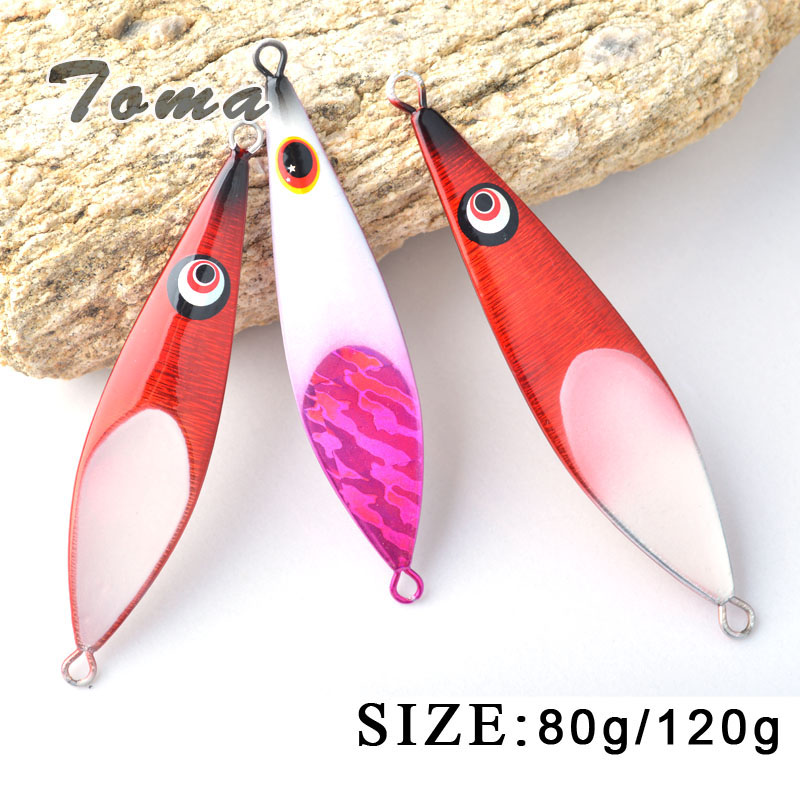 TOMA 2PCS Spoon Metal Fishing Lures Lead Fish 80g/120g Sinking Bait Metal Jigging Lure Artificial Bait Bass Fishing Tackle toma spoon metal fishing lures lead fish 80g sinking bait metal jigging lure artificial bait bass lure fishing tackle