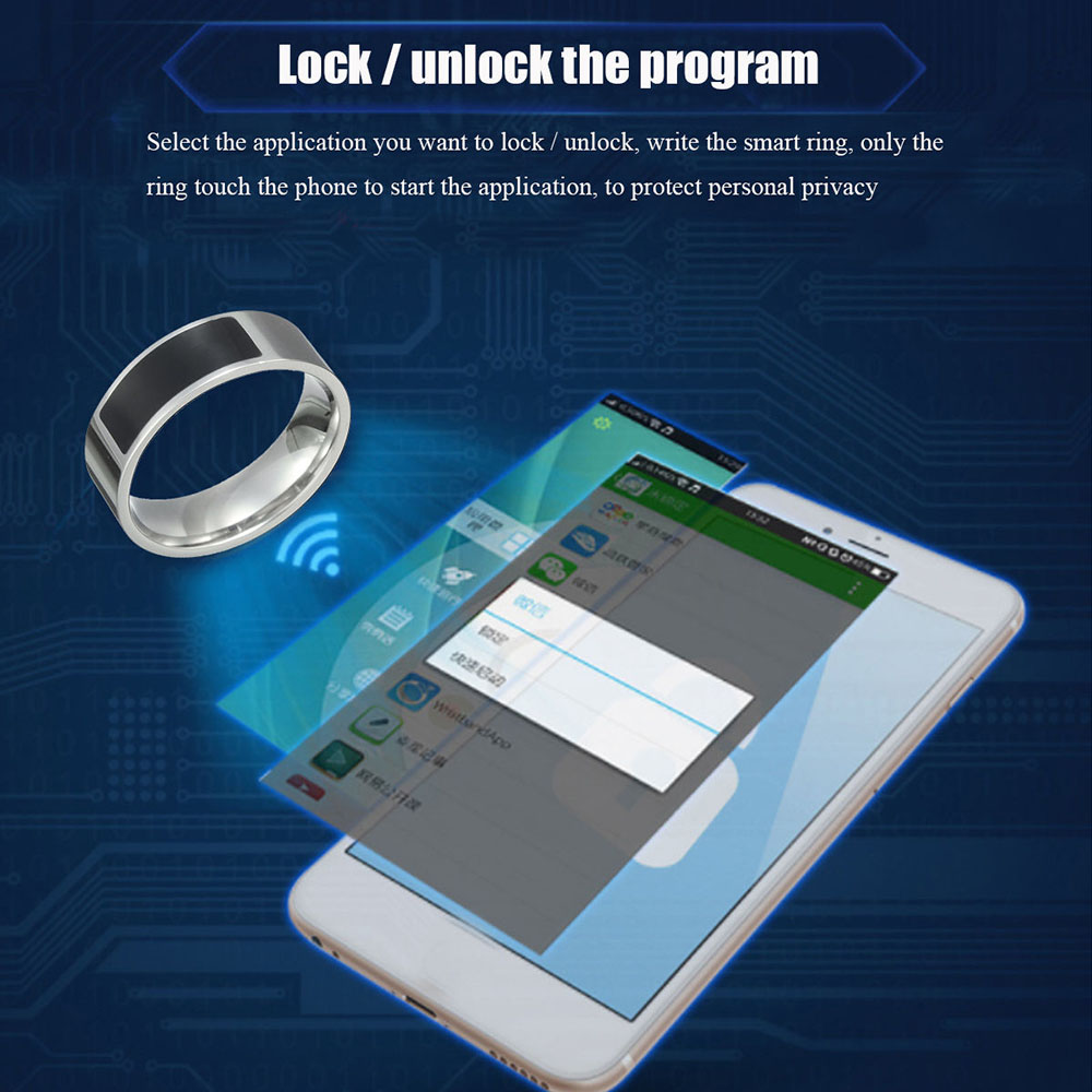 Fashion Stainless Steel NFC Smart Wearable Ring New Technology For Windows IOS Android Mobile Phone Jewelry Size 8-13