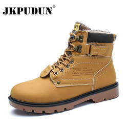 JKPUDUN Winter Ankle Snow Boots Men Casual Shoes Autumn Leather Waterproof Work Safety Tooling Men Boots Military Army Botas Bot