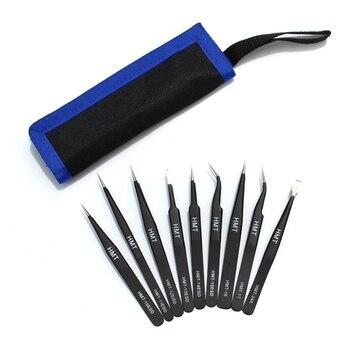 9pcs/lot ESD Safe Precision Tweezers Stainless Steel Curved Tweezer Anti-static Industrial Tweezers Repair Tools Pinzas Pinzette