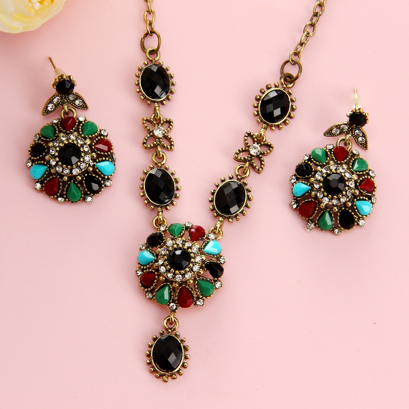 New Crystal Flower Necklace Sets Fashion Earing For Women Flower Jewelry Turkish Combination 2Pcs Nigerian Colorful Bijoux