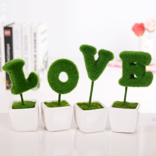 Home Decoration Love Artificial Plant Ceramic Vase Simulation