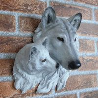 Resin creative wall animal murals, wall decoration, wolf head bedroom wall stickers, TV background wall decorations