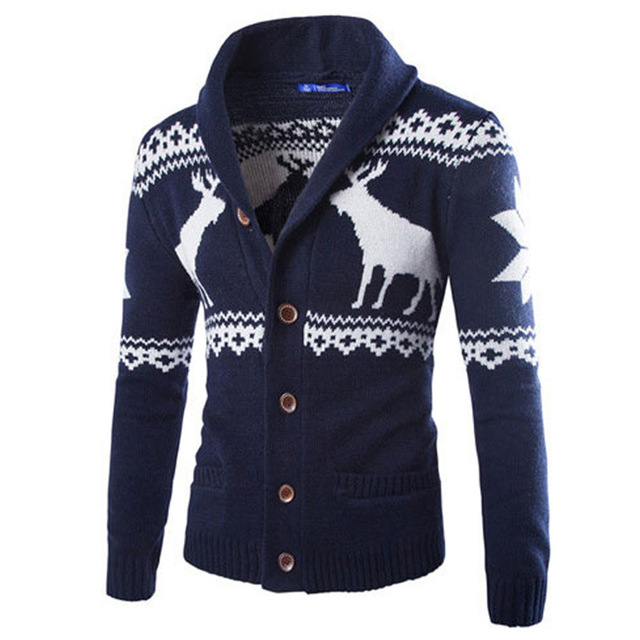 2016 Autumn and Winter New European and American Fashion Men 's Deer Sweater Christmas Cardigan Stitching V Neck Sweater