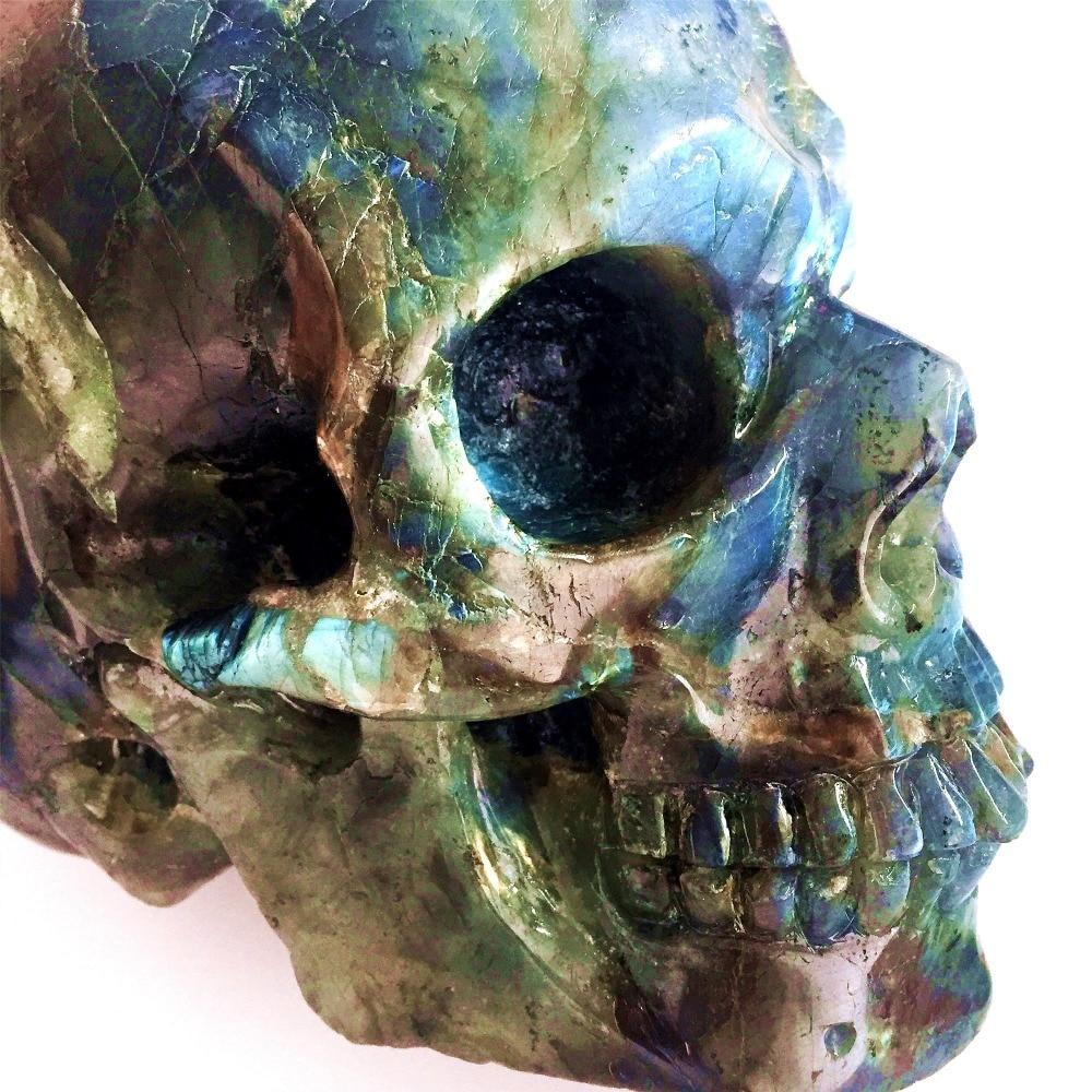 3.8 kg Naturel Labradorite Sculpté Crâne Coloré Pierres de Guérison Gigt 2018 De Noël Décorations pour La Maison