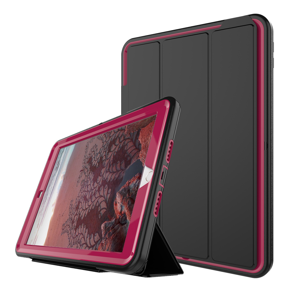 For New iPad 9.7 2017 3-Layer Smart Cover Case 360 Full Protection Heavy Duty PC+TPU+PU Folding Stand Hard Armor Tablet