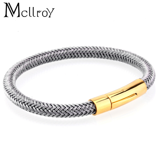 ab7b593f2d5 Mcllroy Men bracelets&bangles 6mm steel rope chain titanium steel bracelet  couple love bangles stainless steel erkek bileklik