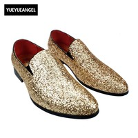 Punk Stylish New Mens Sequin Dress Fashion Shoes For Man Slip On Loafers Silver Bling Bling