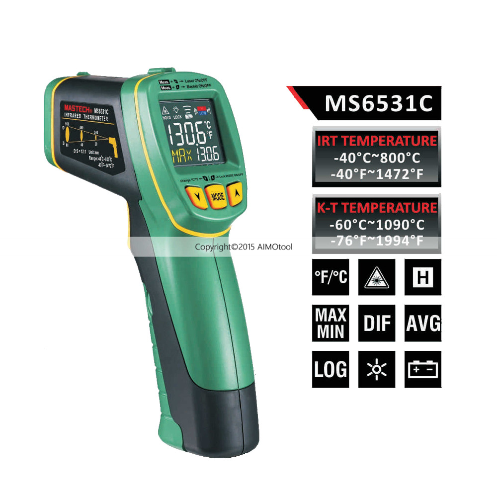 Mastech MS6531C Color Display Infrared Thermometer Non-contact Temperature Gun -40~800 Degrees with K type Thermocouple mastech ms6514 dual channel digital thermometer temperature logger tester usb interface 1000 set data k j t e r s n thermocouple