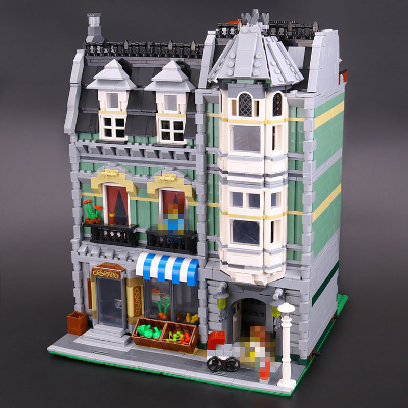 LEPIN 15008 2462Pcs Genuine New City Street Green Grocer Model Building Kit Blocks Bricks Toy Gift Compatitive Funny 10185 lepin 15008 2462pcs city street green grocer legoingly model sets 10185 building nano blocks bricks toys for kids boys