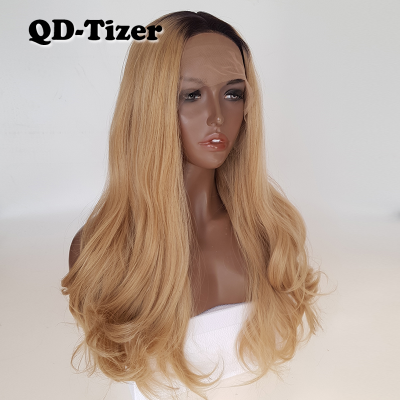 QD-Tizer Natural Wave Blonde Ombre Color Brown Root Lace Front Wigs Glueless Body Wave Synthetic Lace Front Wigs for Black Women