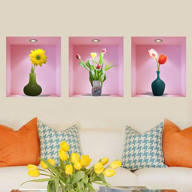 Art DIY 3D Wall Stickers Flower Vase Still Life Modular Wall ...