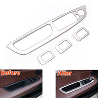 4pcs Set Car Interior Stainless Accessories Window Switch Button Panel Trim Cover Frame For X5 E70