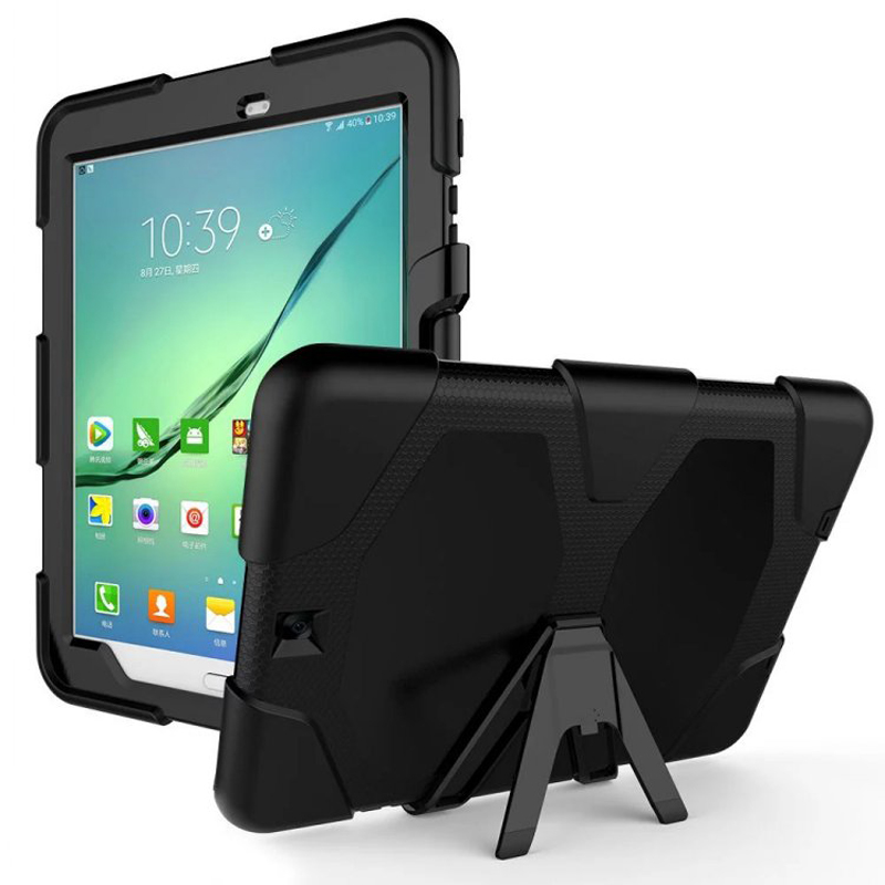New Dual Layers PC+TPU Tablet PC Cases with Kickstand for Samsung Galaxy S2 9.7 T810/T815C the Front Panel with Protection Film