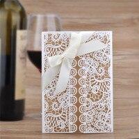 10 יחידות rectang חלול כרטיס הזמנות לחתונה לחתוך לייזר אישית מותאם אישית עם מעטפה בחינם חותמות ספקי צד סרט