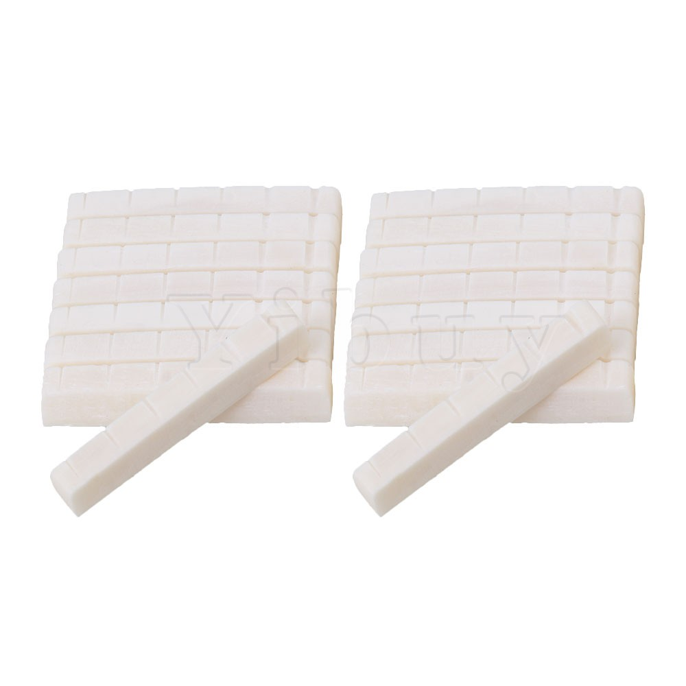 Yibuy 15pcs White 6 String Guitar Bone Nut Slotted for Electric Guitar
