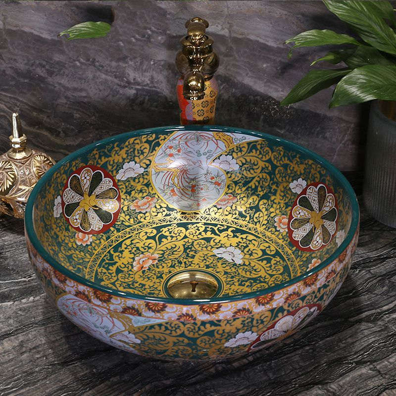 Round Ceramic Art Basin Wash Face Bathroom Sink
