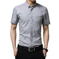 Плюс Размеры 5XL Лето 2017 г. Новый корейский стиль Для мужчин рубашка с короткими рукавами модные однотонные Цвет Slim Fit Повседневная рубашка Дл...