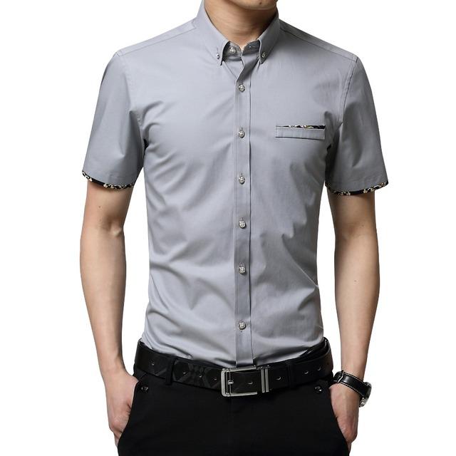 Plus Size 5XL 2016 Verão Novo Estilo Coreano Dos Homens Curta Camisa de manga Moda Cor Sólida Casual Slim Fit Camisa Dos Homens roupas